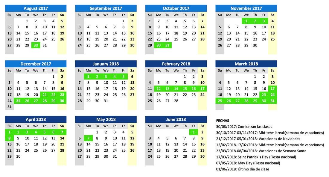 Calendario Escolar Barcelona.Calendario Escolar Irlanda 17 18 Orig Dublin English Centre