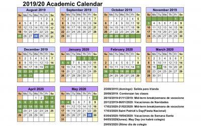 Calendario año académico en Irlanda 2019/2020