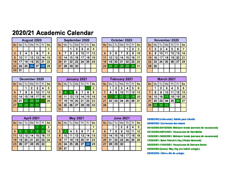 Calendario año escolar Irlanda 2020/2021